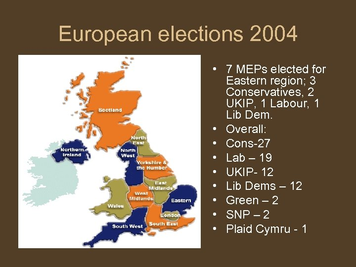 European elections 2004 • 7 MEPs elected for Eastern region; 3 Conservatives, 2 UKIP,