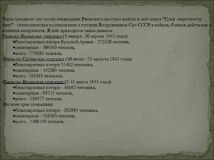 Через пятьдесят лет после ликвидации Ржевского выступа вышла в свет книга