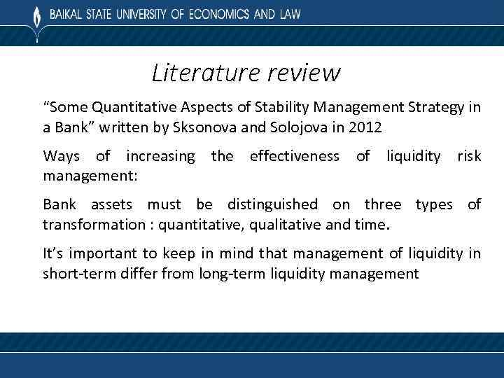 "Literature review ""Some Quantitative Aspects of Stability Management Strategy in a Bank"" written by"