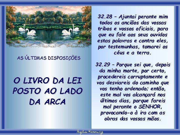 AS ÚLTIMAS DISPOSIÇÕES O LIVRO DA LEI POSTO AO LADO DA ARCA 32. 28