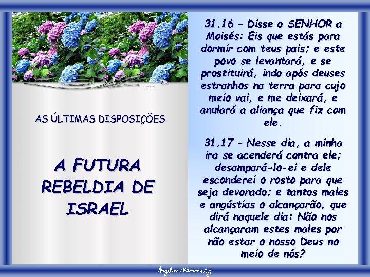 AS ÚLTIMAS DISPOSIÇÕES A FUTURA REBELDIA DE ISRAEL 31. 16 – Disse o SENHOR
