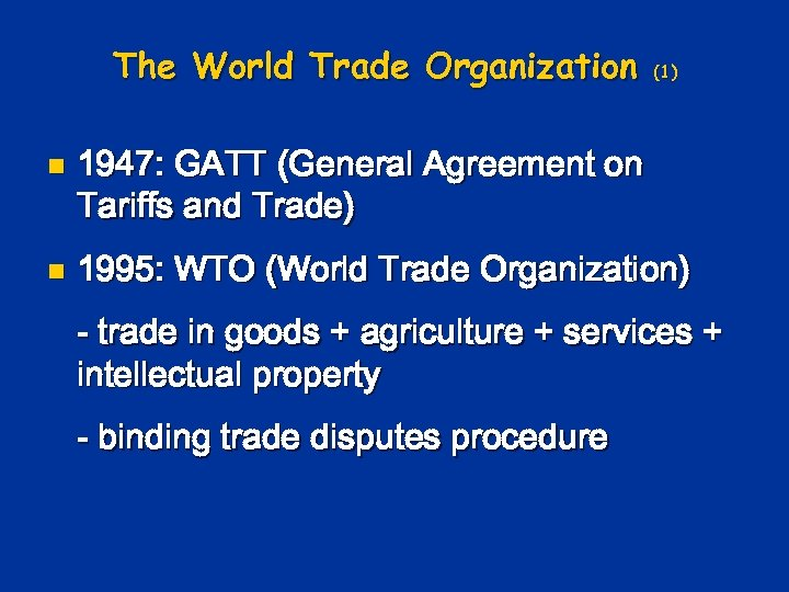 the role objective and function of the world trade organization and application of the ricardo theor Quoting from the wto's website, the world trade organization (wto) is the only global international organization dealing with the rules of the wto has over 160 members representing 98 per cent of world trade over 20 countries are seeking to join the wto wto comes as a natural.