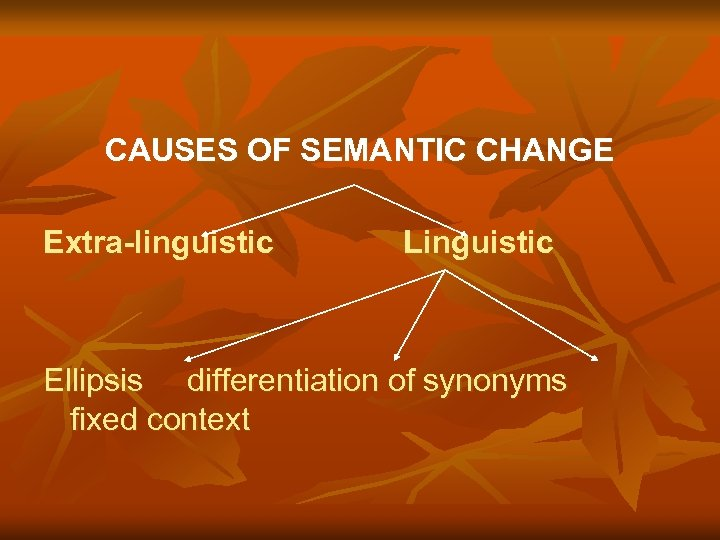 CAUSES OF SEMANTIC CHANGE Extra-linguistic Linguistic Ellipsis differentiation of synonyms fixed context