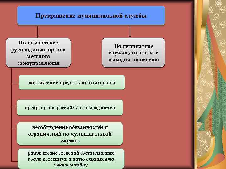 Прекращение муниципальной службы По инициативе руководителя органа местного самоуправления По инициативе служащего, в т.