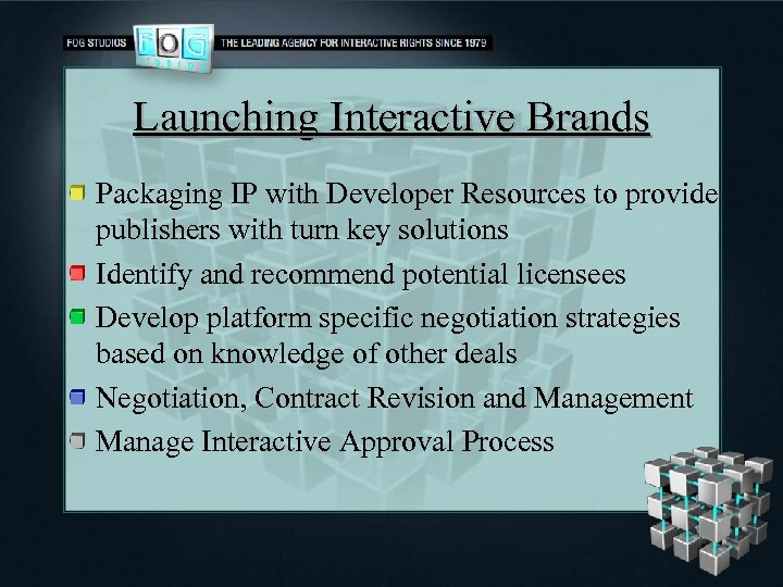 Launching Interactive Brands Packaging IP with Developer Resources to provide publishers with turn key