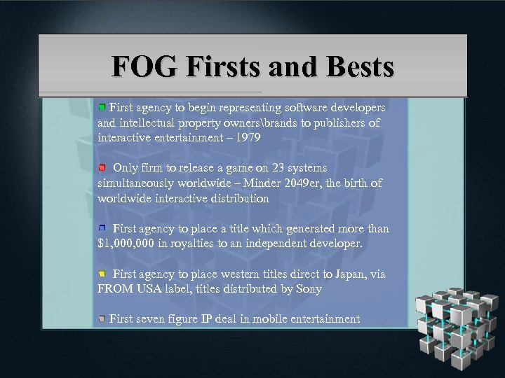 FOG Firsts and Bests First agency to begin representing software developers and intellectual property