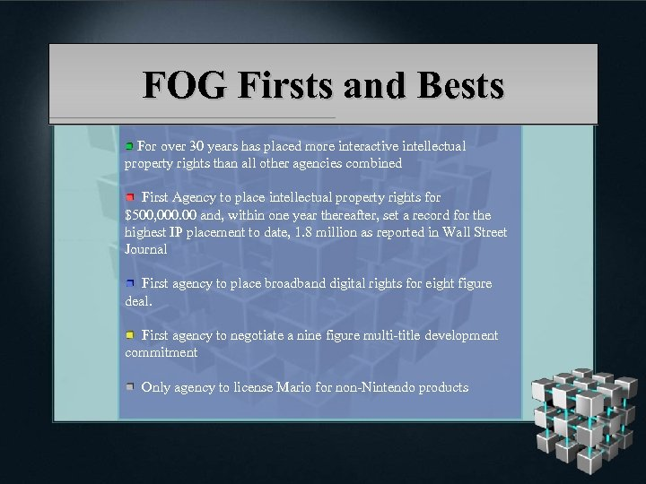 FOG Firsts and Bests For over 30 years has placed more interactive intellectual property