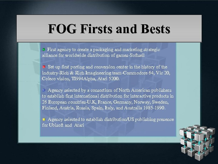 FOG Firsts and Bests First agency to create a packaging and marketing strategic alliance