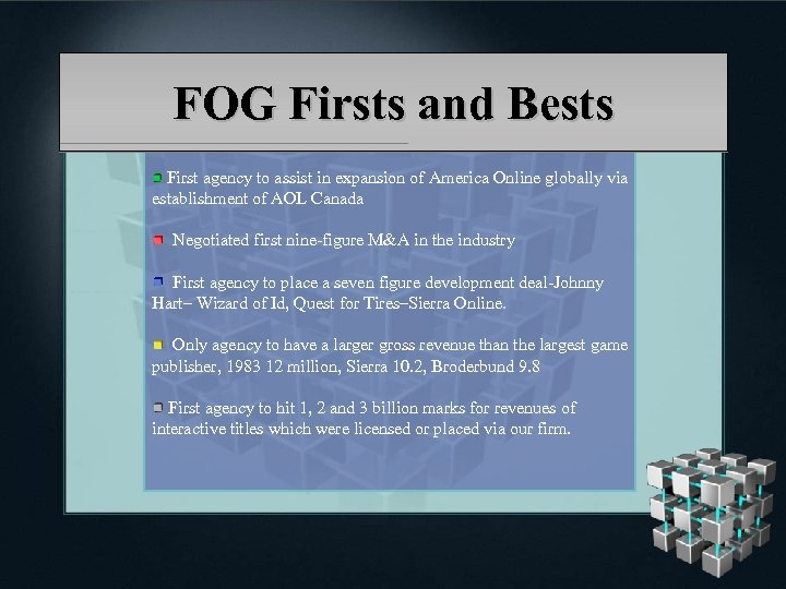FOG Firsts and Bests First agency to assist in expansion of America Online globally