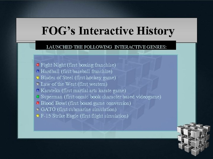 FOG's Interactive History LAUNCHED THE FOLLOWING INTERACTIVE GENRES: Fight Night (first boxing franchise) Hardball