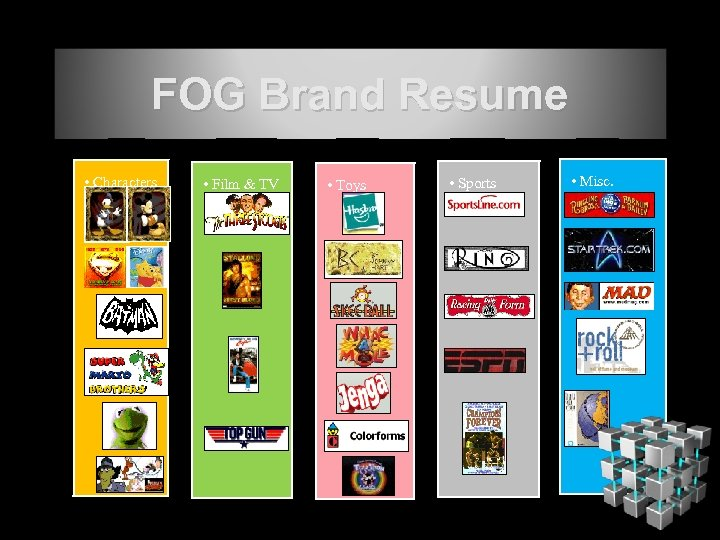 FOG Brand Resume • Characters • Film & TV • Toys • Sports •