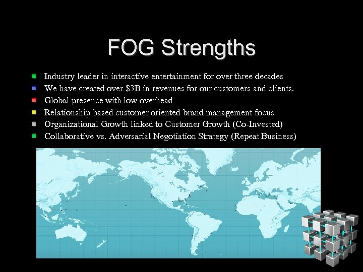 FOG Strengths Industry leader in interactive entertainment for over three decades We have created