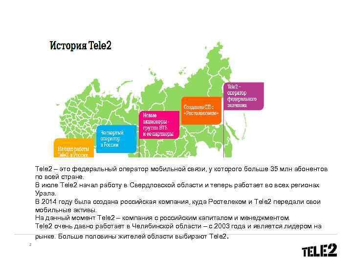 Tele 2 – это федеральный оператор мобильной связи, у которого больше 35 млн абонентов