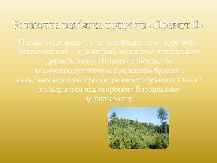 Ботанічна пам'ятка природи «Правич II» Площа становить 5, 6 га, створений 15. 07. 1996