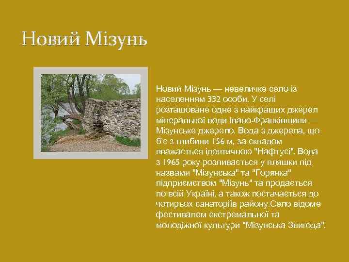 Новий Мізунь — невеличке село із населенням 332 особи. У селі розташоване одне з