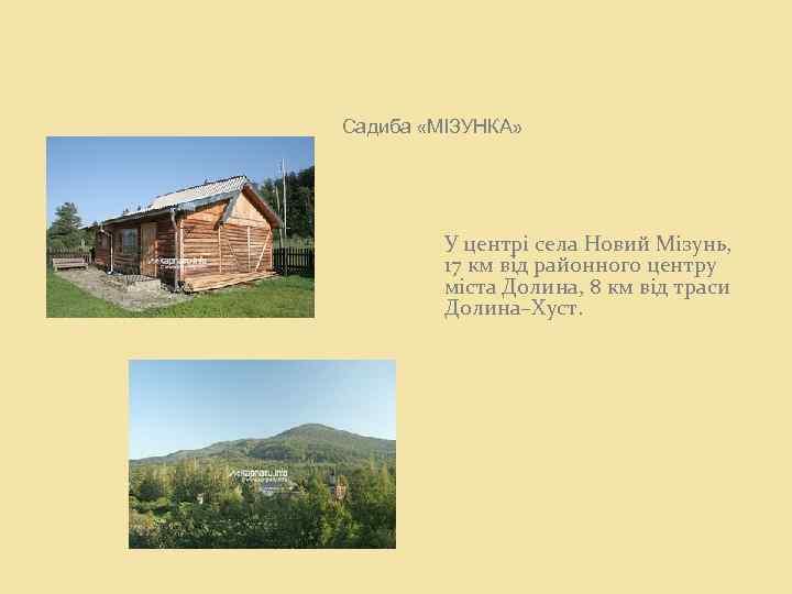 Садиба «МІЗУНКА» У центрі села Новий Мізунь, 17 км від районного центру міста Долина,