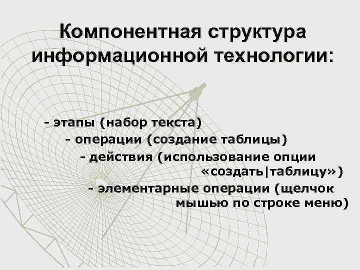 Компонентная структура информационной технологии: - этапы (набор текста) - операции (создание таблицы) - действия