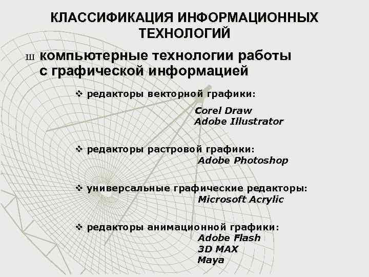 КЛАССИФИКАЦИЯ ИНФОРМАЦИОННЫХ ТЕХНОЛОГИЙ Ш компьютерные технологии работы с графической информацией v редакторы векторной графики: