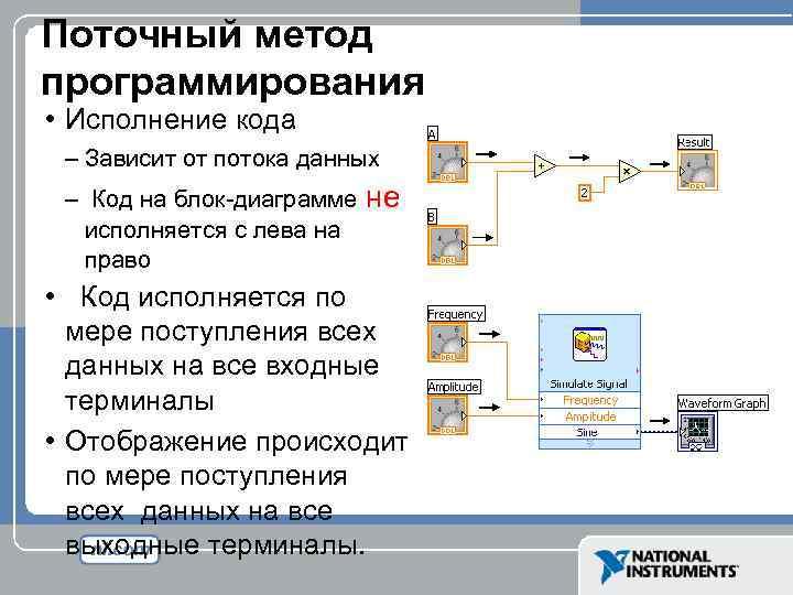 Поточный метод программирования • Исполнение кода – Зависит от потока данных – Код на