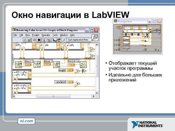 Окно навигации в Lab. VIEW • Отображает текущий участок программы • Идеально для больших