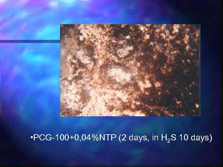 • PCG-100+0, 04%NTP (2 days, in Н 2 S 10 days)