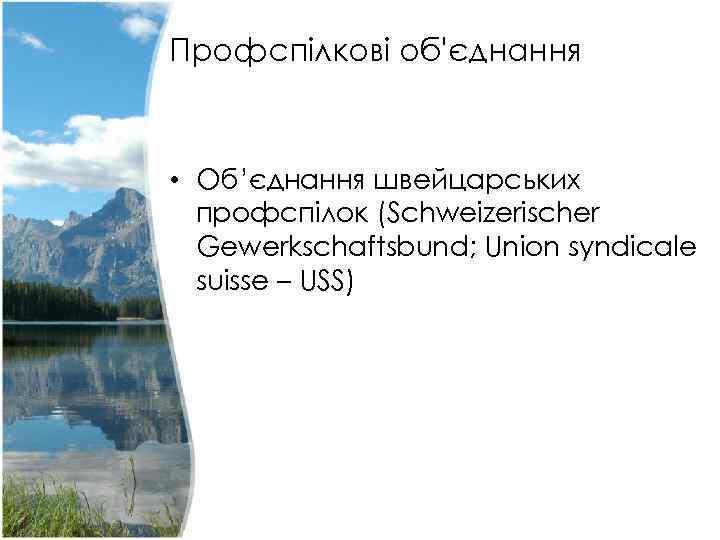 Профспілкові об'єднання • Об'єднання швейцарських профспілок (Schweizerischer Gewerkschaftsbund; Union syndicale suisse – USS)