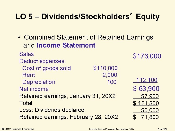 LO 5 – Dividends/Stockholders' Equity • Combined Statement of Retained Earnings and Income Statement