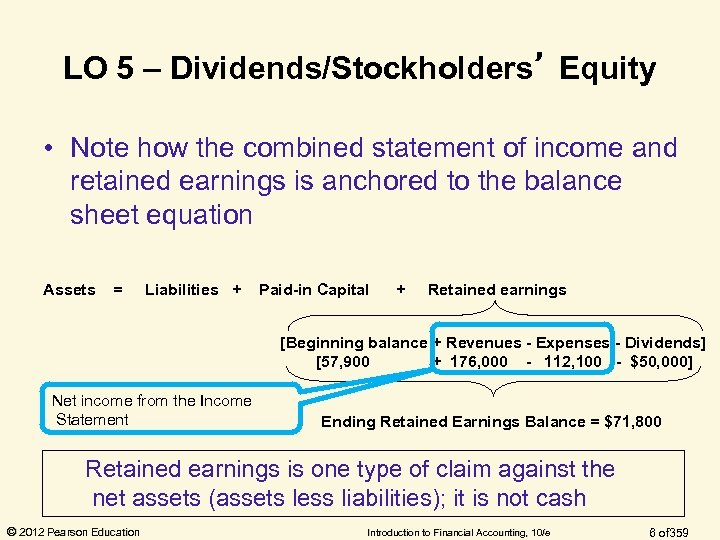 LO 5 – Dividends/Stockholders' Equity • Note how the combined statement of income and
