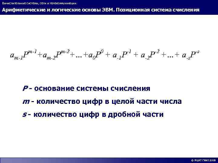 Вычислительные системы, сети и телекоммуникации Арифметические и логические основы ЭВМ. Позиционная система счисления am-1