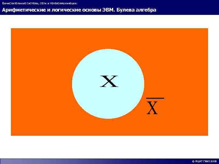 Вычислительные системы, сети и телекоммуникации Арифметические и логические основы ЭВМ. Булева алгебра © МЦИТ