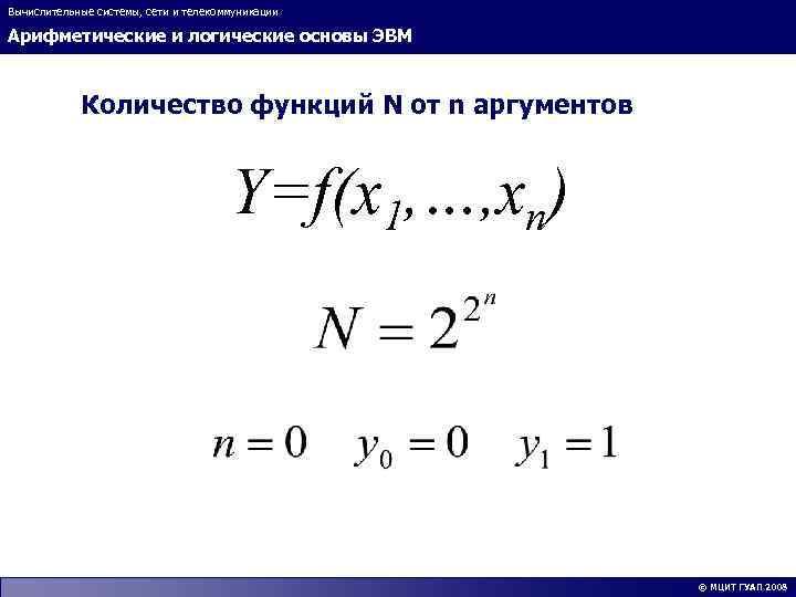 Вычислительные системы, сети и телекоммуникации Арифметические и логические основы ЭВМ Количество функций N от