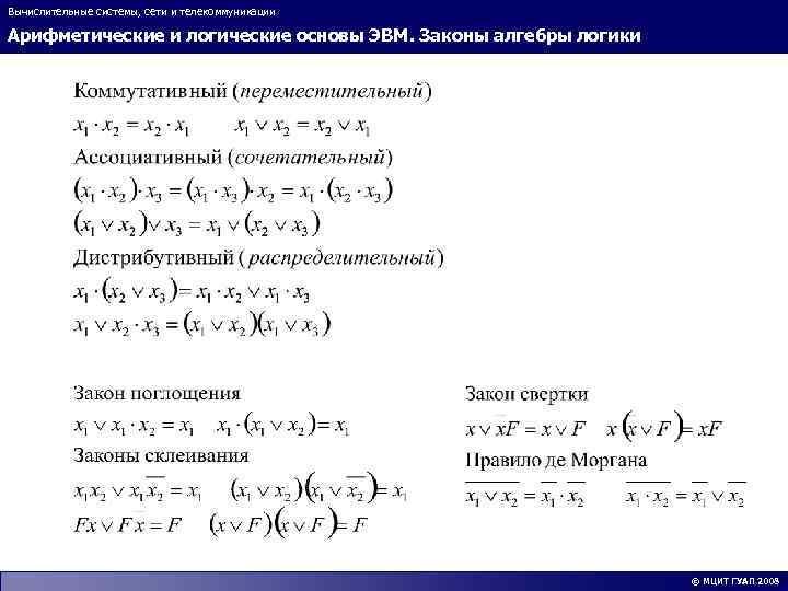 Вычислительные системы, сети и телекоммуникации Арифметические и логические основы ЭВМ. Законы алгебры логики ©