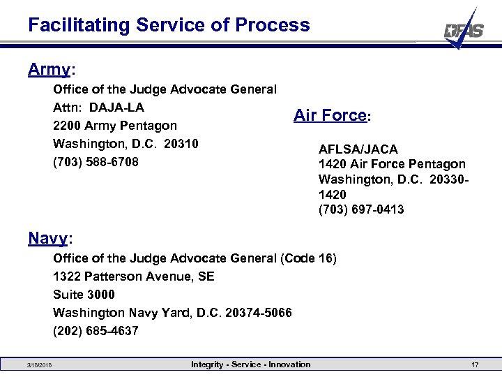 Facilitating Service of Process Army: Office of the Judge Advocate General Attn: DAJA-LA 2200