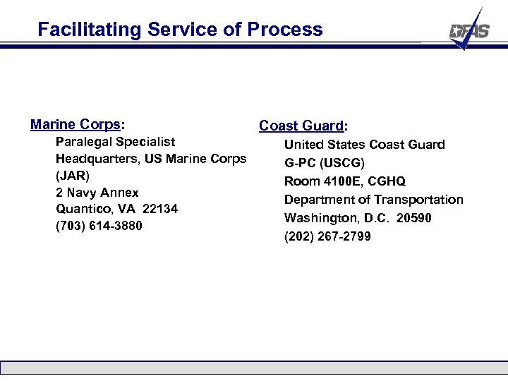 Facilitating Service of Process Marine Corps: Paralegal Specialist Headquarters, US Marine Corps (JAR) 2