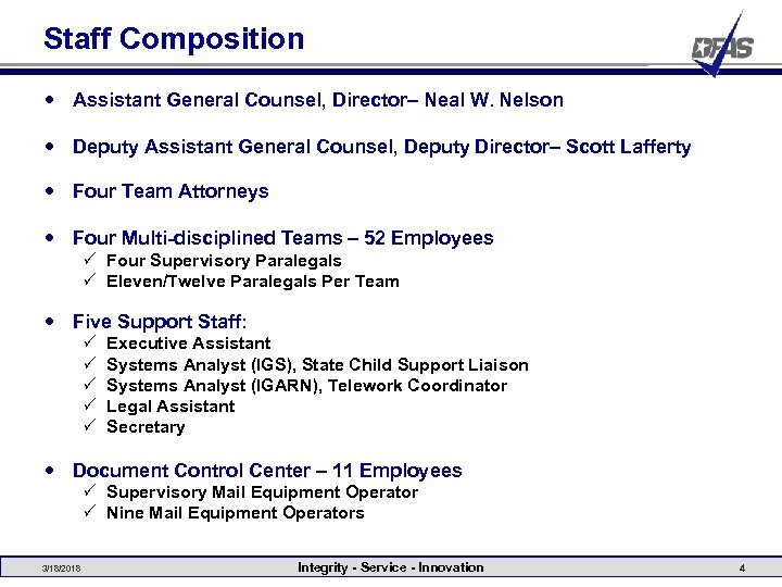 Staff Composition Assistant General Counsel, Director– Neal W. Nelson Deputy Assistant General Counsel, Deputy