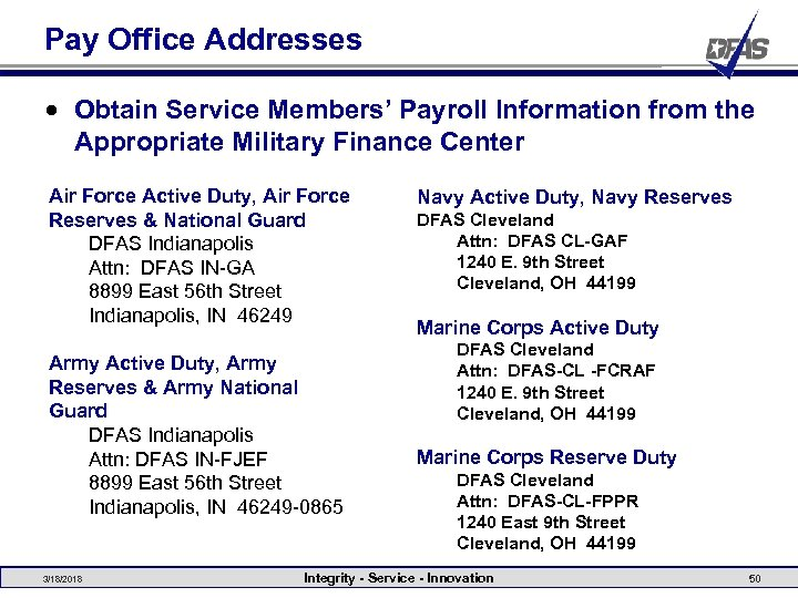 Pay Office Addresses • Obtain Service Members' Payroll Information from the Appropriate Military Finance