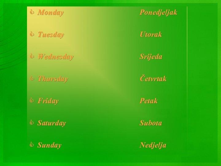 C Monday Ponedjeljak C Tuesday Utorak C Wednesday Srijeda C Thursday Četvrtak C Friday