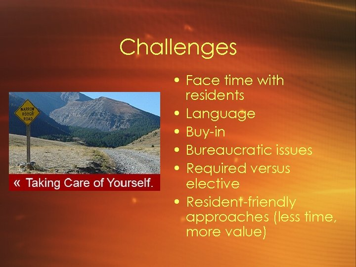 Challenges • Face time with residents • Language • Buy-in • Bureaucratic issues •