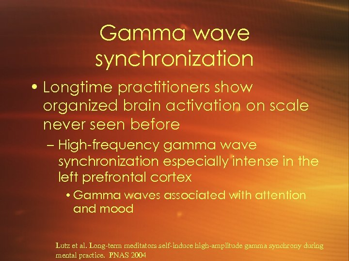 Gamma wave synchronization • Longtime practitioners show organized brain activation on scale never seen