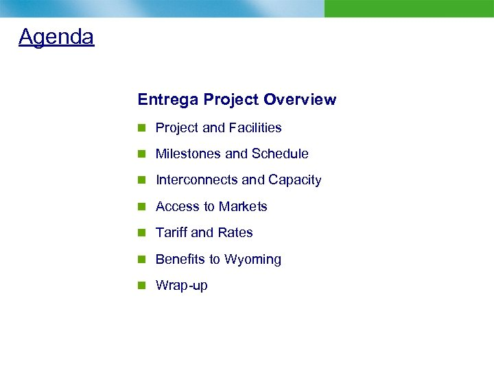 Agenda Entrega Project Overview n Project and Facilities n Milestones and Schedule n Interconnects