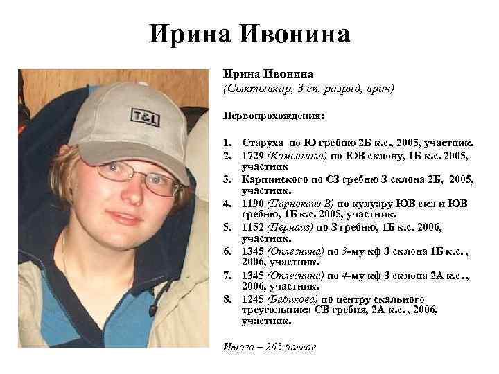 Ирина Ивонина (Сыктывкар, 3 сп. разряд, врач) Первопрохождения: 1. Старуха по Ю гребню 2