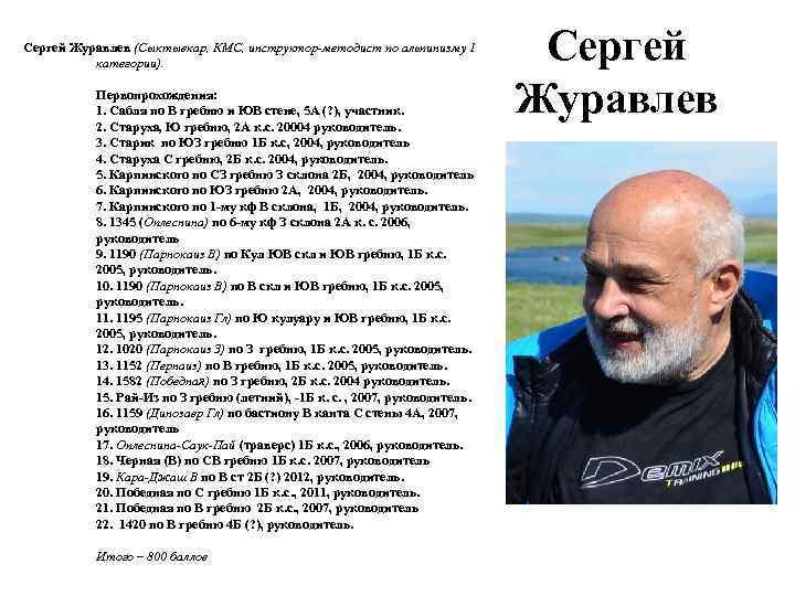 Сергей Журавлев (Сыктывкар, КМС, инструктор-методист по альпинизму 1 категории). Первопрохождения: 1. Сабля по В