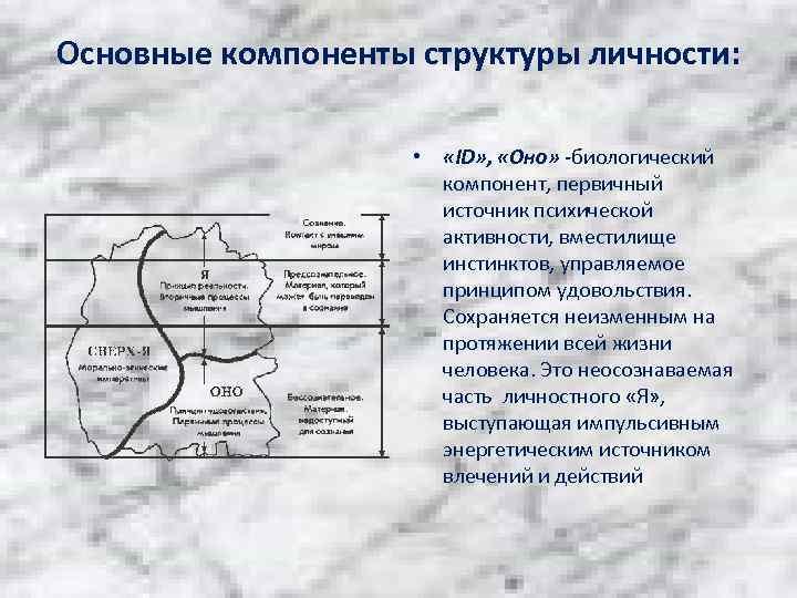 Основные компоненты структуры личности: • «ID» , «Оно» -биологический компонент, первичный источник психической активности,