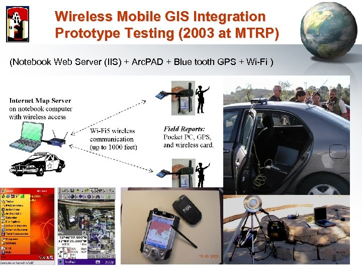 Wireless Mobile GIS Integration Prototype Testing (2003 at MTRP) (Notebook Web Server (IIS) +