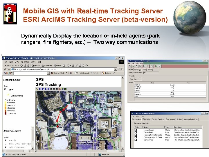Mobile GIS with Real-time Tracking Server ESRI Arc. IMS Tracking Server (beta-version) Dynamically Display