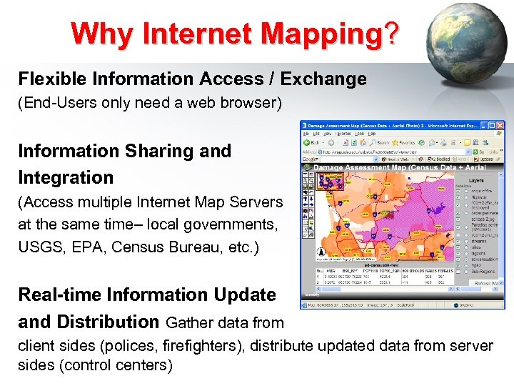 Why Internet Mapping? Flexible Information Access / Exchange (End-Users only need a web browser)