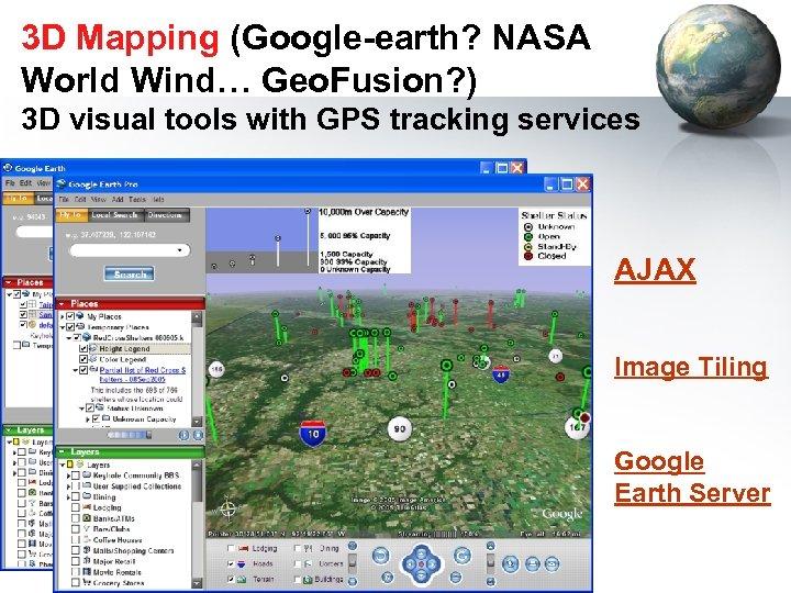 3 D Mapping (Google-earth? NASA World Wind… Geo. Fusion? ) 3 D visual tools