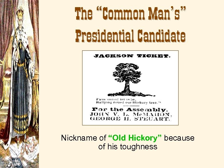"""The """"Common Man's"""" Presidential Candidate Nickname of """"Old Hickory"""" because of his toughness"""