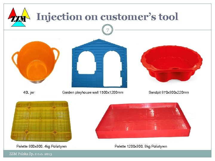 ZZM Injection on customer's tool 7 40 L jar Garden playhouse wall 1500 x