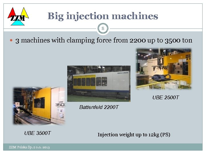 ZZM Big injection machines 8 3 machines with clamping force from 2200 up to